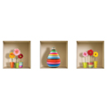 NISHA - Décoration Stickers Illusion 3D Flower Kids 32cmx32cm - Lot de 3