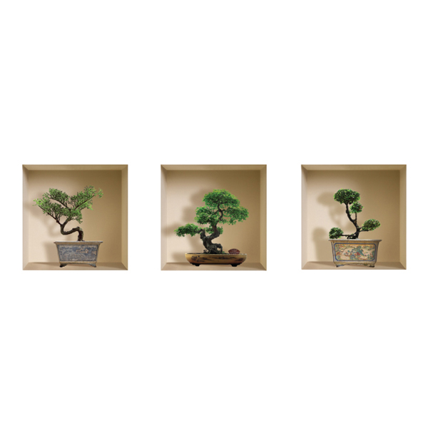 NISHA - Décoration Stickers Illusion 3D Arbres Banzaï 32cmx32cm - Lot de 3
