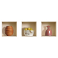 NISHA - Décoration Stickers Illusion 3D Cuisine Campagne 32cmx32cm - Lot de 3