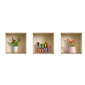 NISHA - Décoration Stickers Illusion 3D Love Home 32cmx32cm - Lot de 3