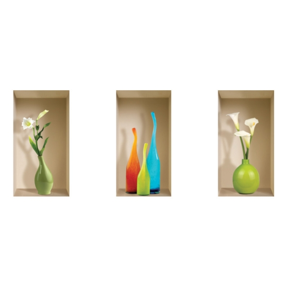 NISHA - Décoration Stickers Illusion 3D Vases Milano 22cmx42cm - Lot de 3