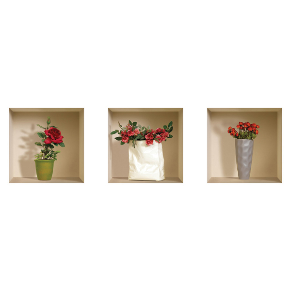 NISHA - Décoration Stickers Illusion 3D Roses 32cmx32cm - Lot de 3