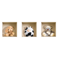 NISHA - Décoration Stickers Illusion 3D Peluches Teddy 32cmx32cm - Lot de 3